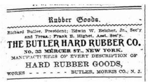 Ad for Butler Hard Rubber Co (1897)