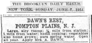 Dawn's Rest ad (1914)