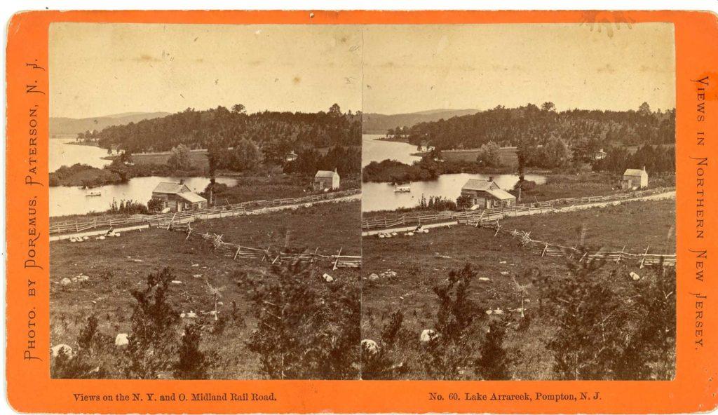 """A stereovision postcard titled """"Lake Arrareek, Pompton, N.J."""""""