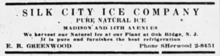 Ad for Silk City Ice Company